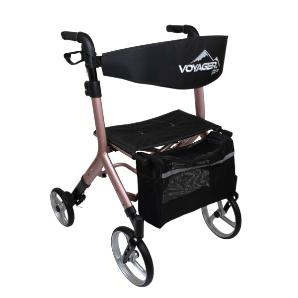 Voyager Adjustable Height Euro-Style Rollator, Rose Gold