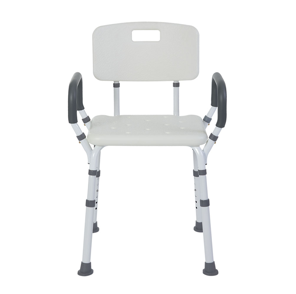 SHOWER BENCH/CHAIR WITH REMOVABLE PADDED ARMS WITH BACK